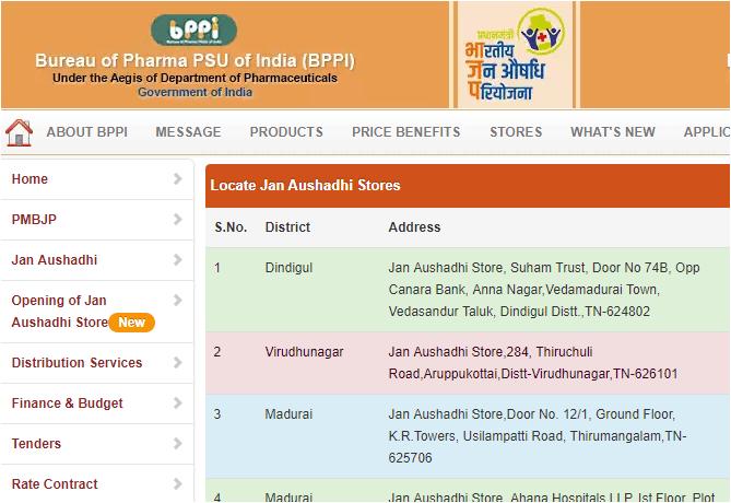 jan aushadhi stores list